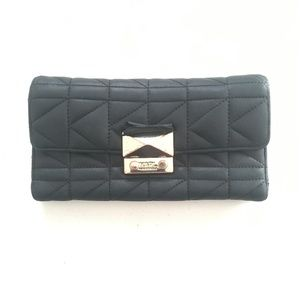 Karl Lagerfeld Black Quilt Leather Trifold Wallet